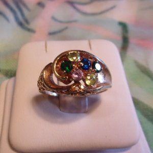 10K Gold Multi Color Gem Stone Ring Sz 8.5